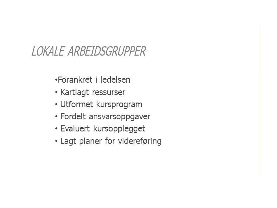 LOKALE ARBEIDSGRUPPER • Forankret i ledelsen • Kartlagt ressurser • Utformet kursprogram • Fordelt ansvarsoppgaver • Evaluert kursopplegget • Lagt planer for videreføring