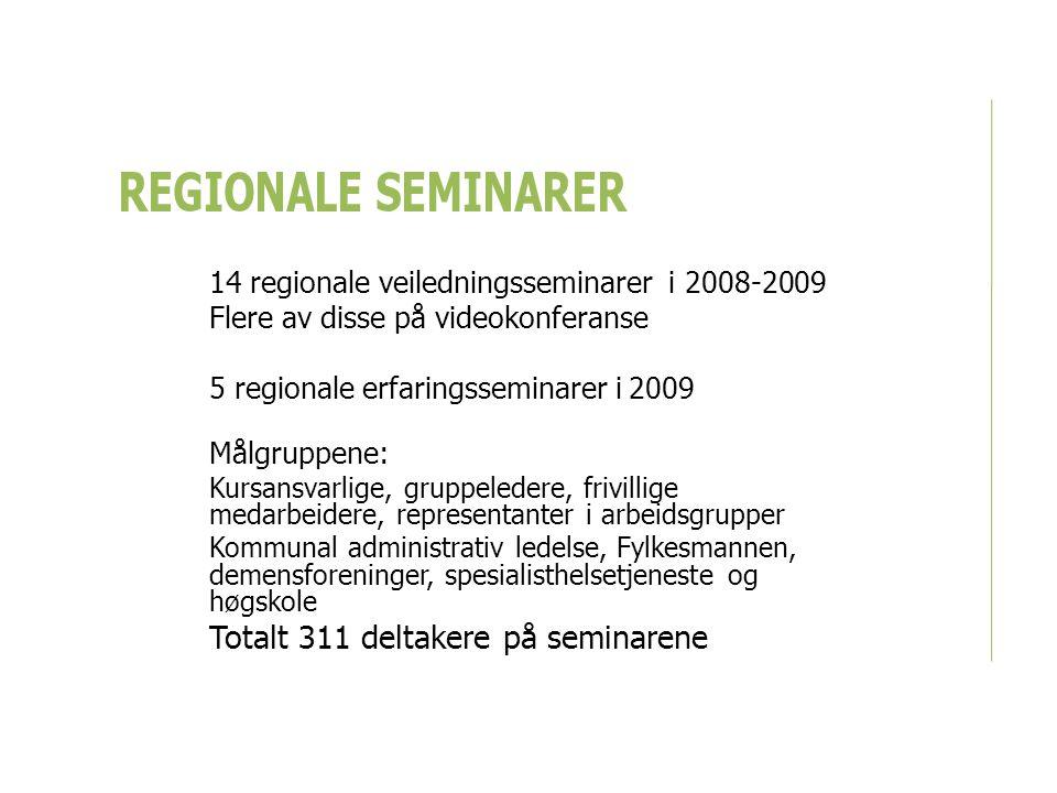 REGIONALE SEMINARER 14 regionale veiledningsseminarer i 2008-2009 Flere av disse på videokonferanse 5 regionale erfaringsseminarer i 2009 Målgruppene: Kursansvarlige, gruppeledere, frivillige medarbeidere, representanter i arbeidsgrupper Kommunal administrativ ledelse, Fylkesmannen, demensforeninger, spesialisthelsetjeneste og høgskole Totalt 311 deltakere på seminarene