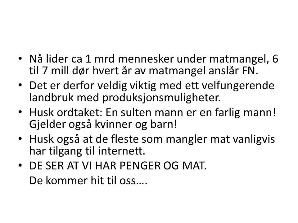 • Vi sier: Ikke bygg på dyrket jord!!!.• I Norge er ca 3 % av totalarealet dyrket jord.