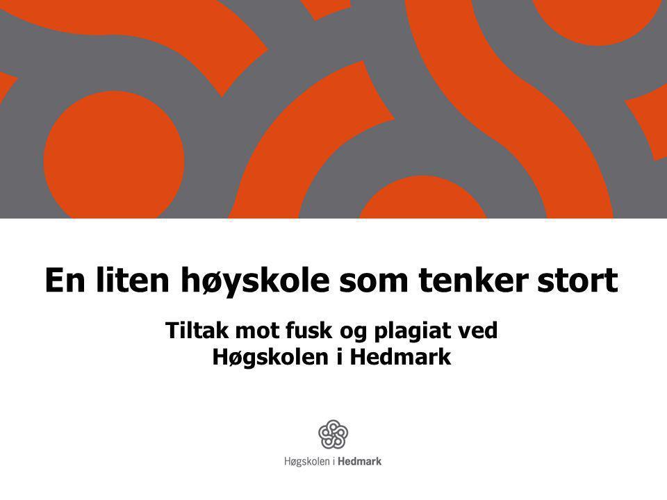 En liten høyskole som tenker stort Tiltak mot fusk og plagiat ved Høgskolen i Hedmark