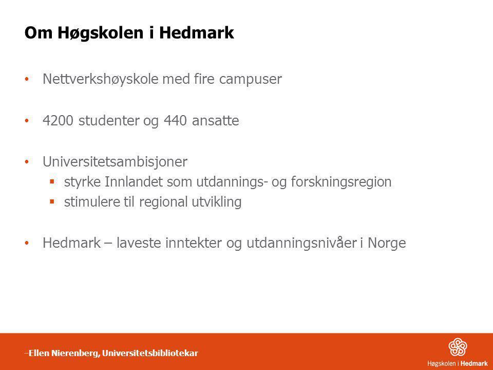 Om Høgskolen i Hedmark • Nettverkshøyskole med fire campuser • 4200 studenter og 440 ansatte • Universitetsambisjoner  styrke Innlandet som utdanning
