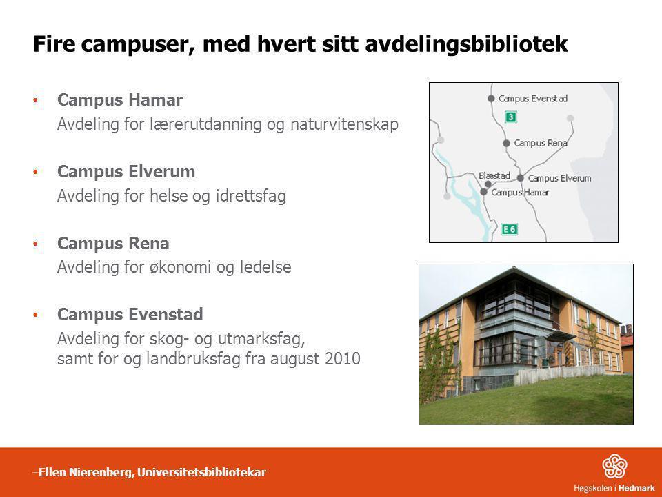 Fire campuser, med hvert sitt avdelingsbibliotek • Campus Hamar Avdeling for lærerutdanning og naturvitenskap • Campus Elverum Avdeling for helse og i