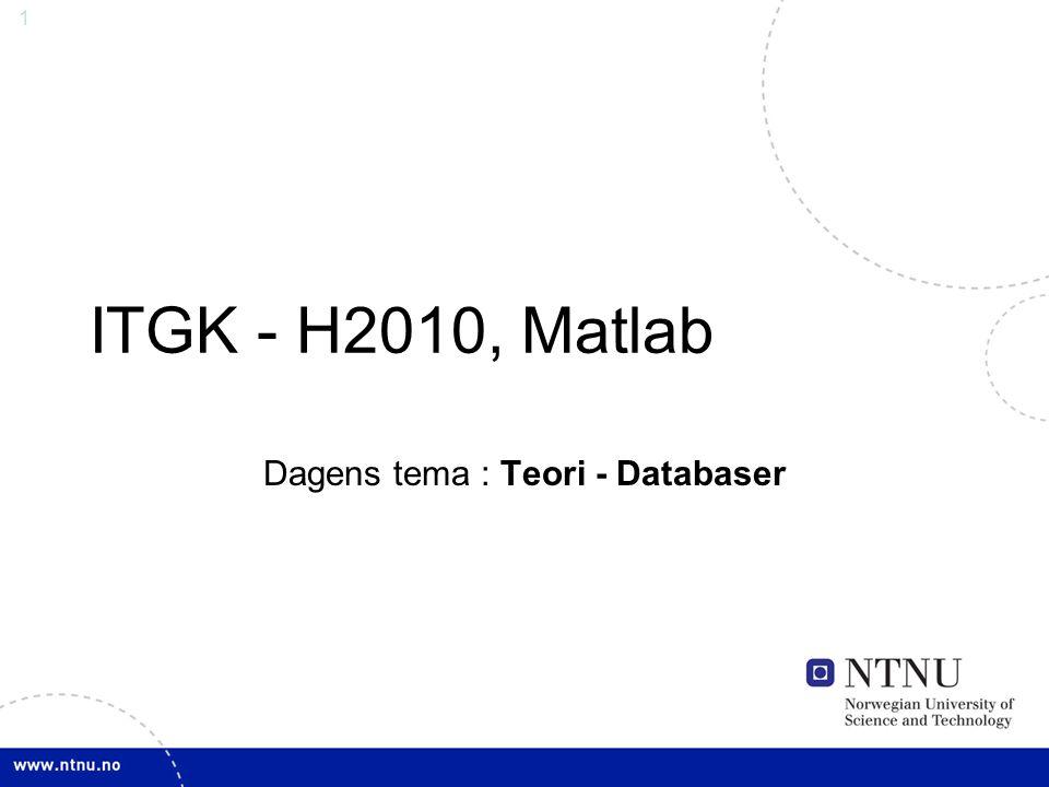 32 Oppgave: ER-diagram •Lag et ER-diagram for en filmdatabase •Relevante tabeller er film, regissør og skuespiller •Attributter: –Film: Navn, årstall –Skuespiller: Navn, fødselsår –Regissør: Navn, fødselsår •Velg relasjoner, primærnøkler og kardinalitet selv Kai Olav Ellefsen, NTNU, 2010