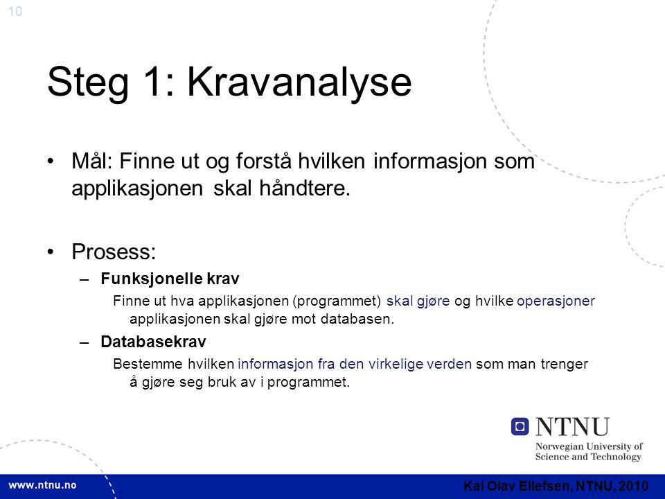 10 Steg 1: Kravanalyse •Mål: Finne ut og forstå hvilken informasjon som applikasjonen skal håndtere. •Prosess: –Funksjonelle krav Finne ut hva applika