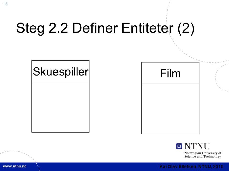 15 Steg 2.2 Definer Entiteter (2) Skuespiller Film Kai Olav Ellefsen, NTNU, 2010