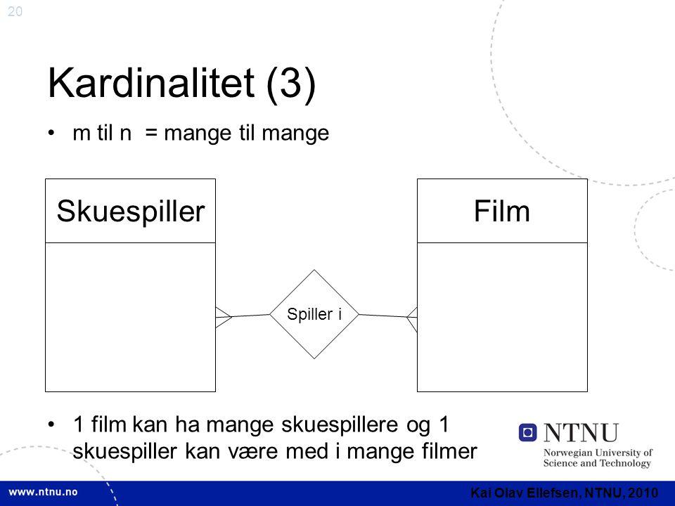 20 Kardinalitet (3) •m til n = mange til mange •1 film kan ha mange skuespillere og 1 skuespiller kan være med i mange filmer SkuespillerFilm Spiller