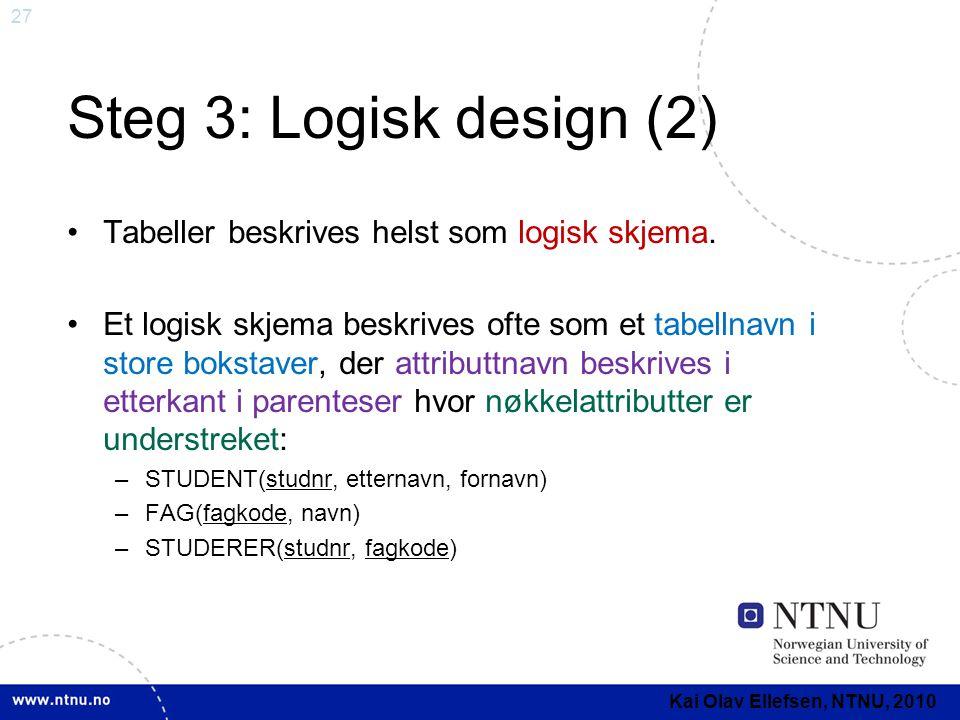 27 Steg 3: Logisk design (2) •Tabeller beskrives helst som logisk skjema. •Et logisk skjema beskrives ofte som et tabellnavn i store bokstaver, der at