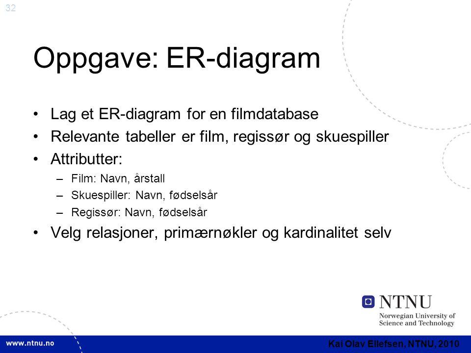 32 Oppgave: ER-diagram •Lag et ER-diagram for en filmdatabase •Relevante tabeller er film, regissør og skuespiller •Attributter: –Film: Navn, årstall