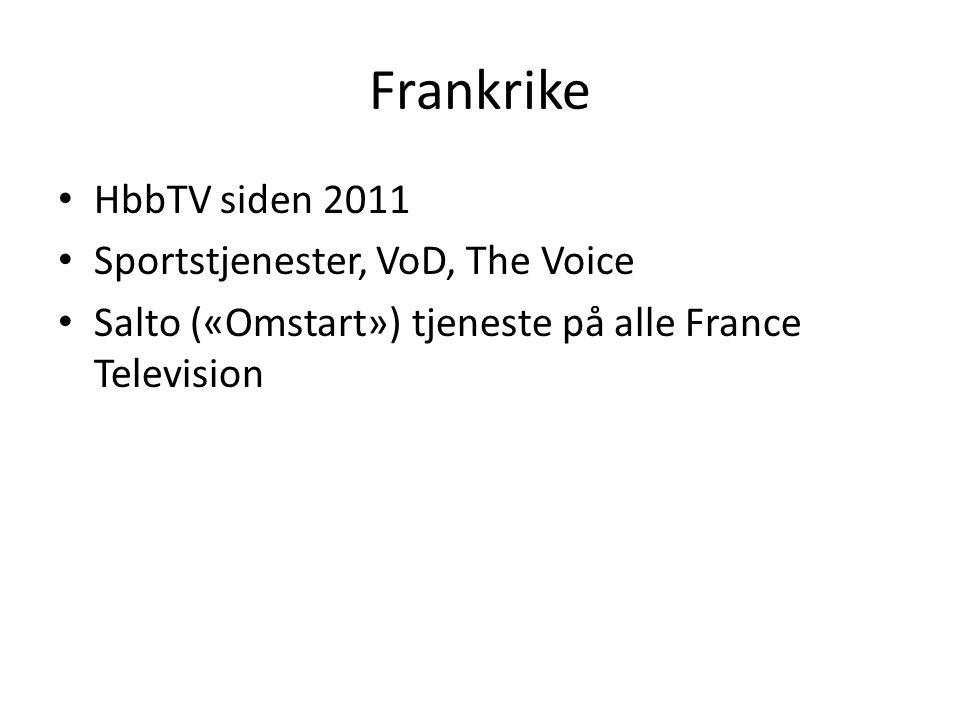 Frankrike • HbbTV siden 2011 • Sportstjenester, VoD, The Voice • Salto («Omstart») tjeneste på alle France Television