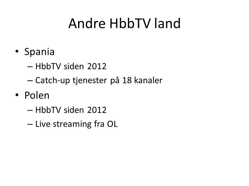 Andre HbbTV land • Spania – HbbTV siden 2012 – Catch-up tjenester på 18 kanaler • Polen – HbbTV siden 2012 – Live streaming fra OL