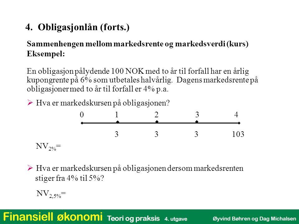 0124   3  En obligasjon pålydende 100 NOK med to år til forfall har en årlig kupongrente på 6% som utbetales halvårlig. Dagens markedsrente på obli