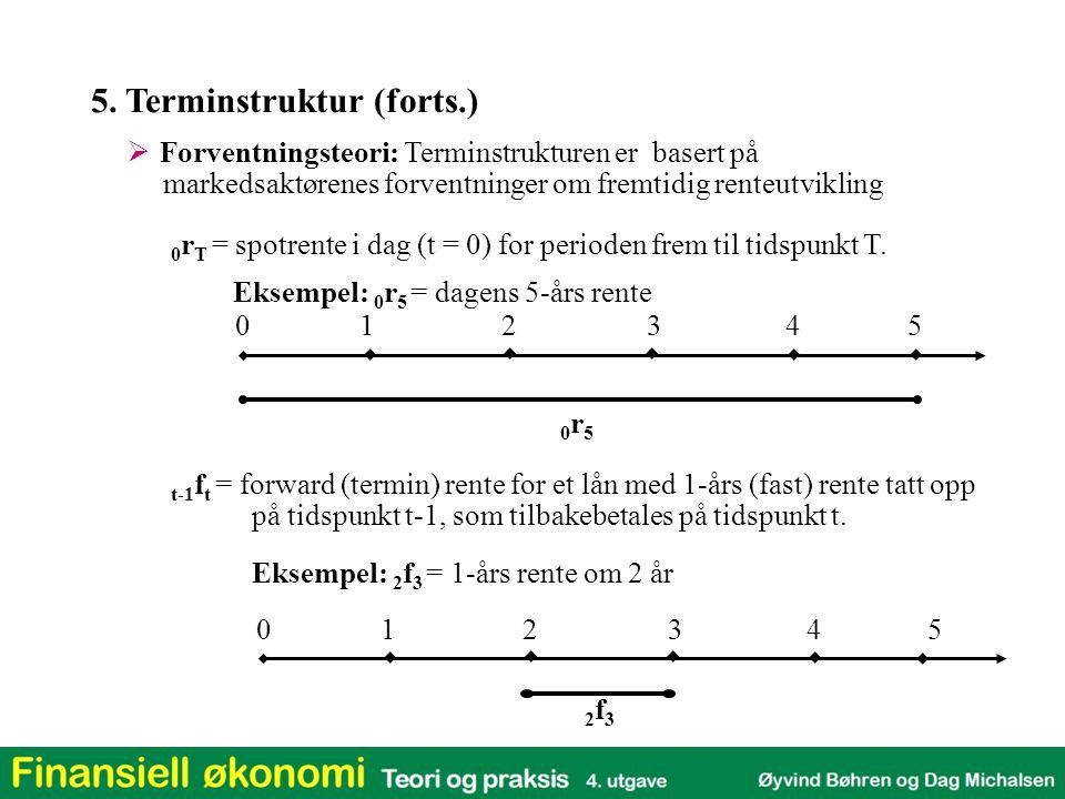 0 r T = spotrente i dag (t = 0) for perioden frem til tidspunkt T.  Forventningsteori: Terminstrukturen er basert på markedsaktørenes forventninger o
