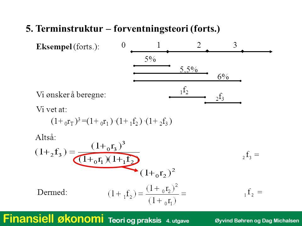 Eksempel (forts.): 5% 5,5% 6% (1+ 0 r T ) 3 =(1+ 0 r 1 ). (1+ 1 f 2 ). (1+ 2 f 3 ) Vi vet at: Altså: 012   3  5. Terminstruktur – forventningsteori