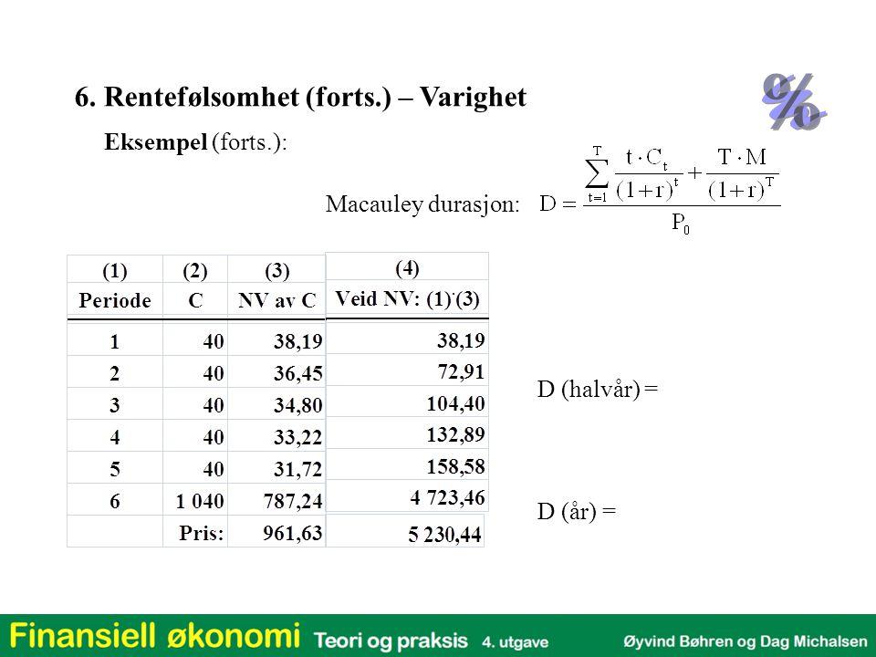 Macauley durasjon: Eksempel (forts.): D (halvår) = D (år) = 6. Rentefølsomhet (forts.) – Varighet
