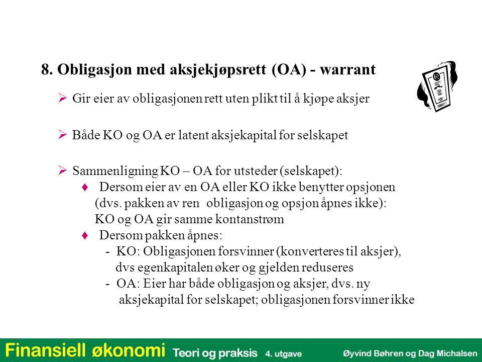  Gir eier av obligasjonen rett uten plikt til å kjøpe aksjer 8. Obligasjon med aksjekjøpsrett (OA) - warrant  Sammenligning KO – OA for utsteder (se