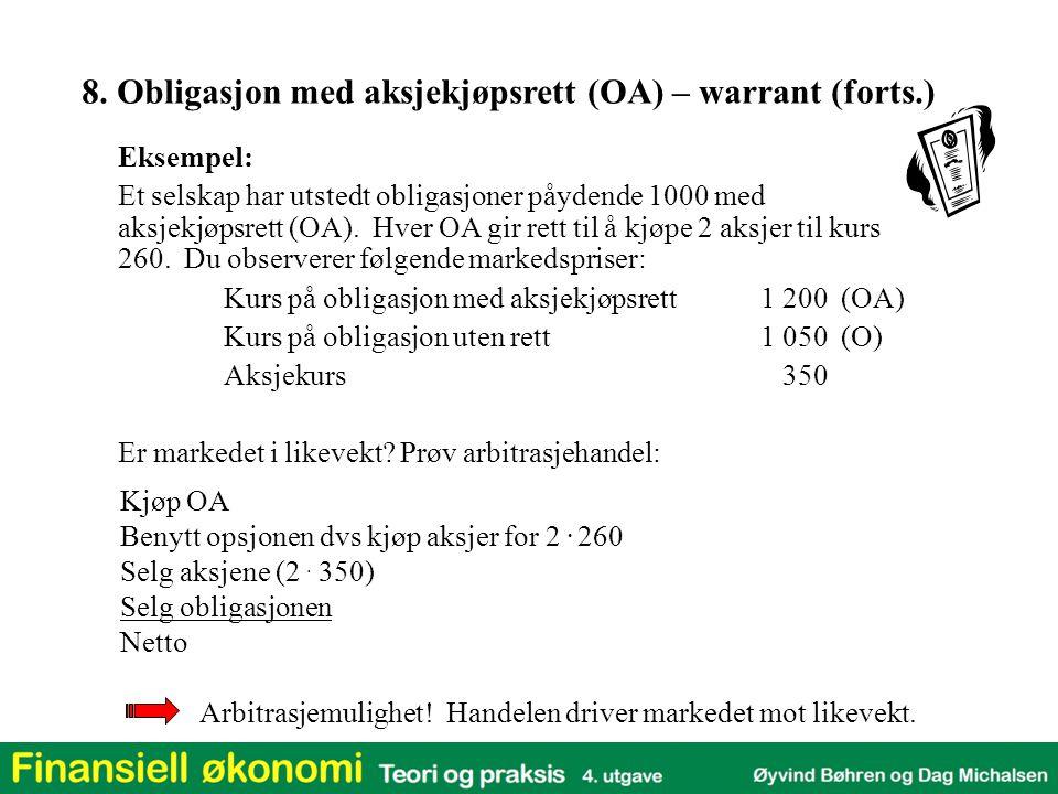 Eksempel: Et selskap har utstedt obligasjoner påydende 1000 med aksjekjøpsrett (OA). Hver OA gir rett til å kjøpe 2 aksjer til kurs 260. Du observerer
