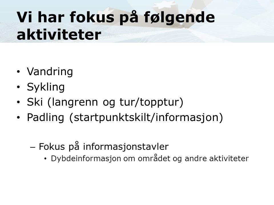 Vi har fokus på følgende aktiviteter • Vandring • Sykling • Ski (langrenn og tur/topptur) • Padling (startpunktskilt/informasjon) – Fokus på informasj