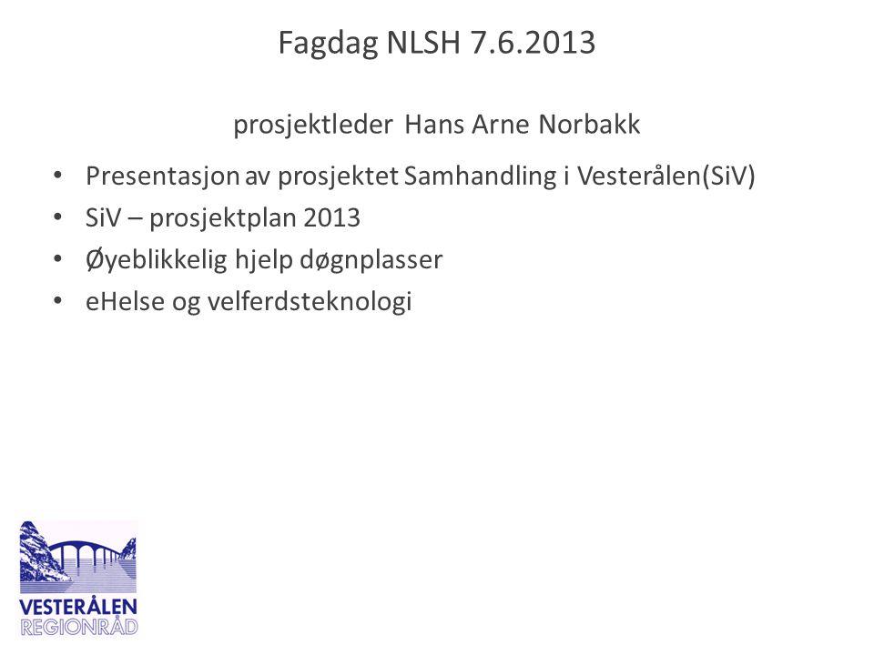 Fagdag NLSH 7.6.2013 prosjektleder Hans Arne Norbakk • Presentasjon av prosjektet Samhandling i Vesterålen(SiV) • SiV – prosjektplan 2013 • Øyeblikkel