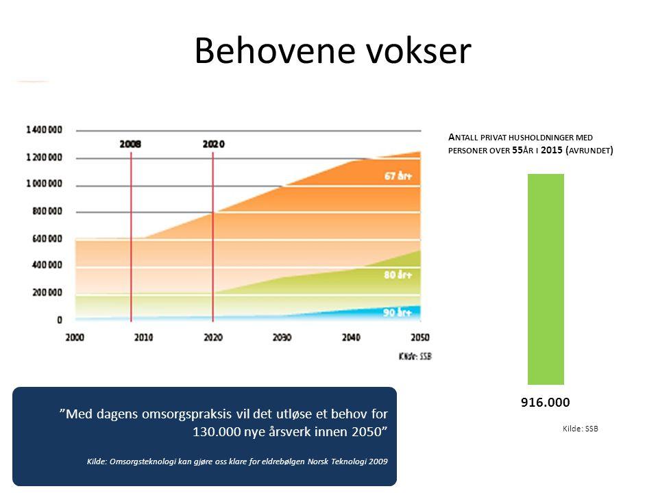 """Behovene vokser A NTALL PRIVAT HUSHOLDNINGER MED PERSONER OVER 55 ÅR I 2015 ( AVRUNDET ) """"Med dagens omsorgspraksis vil det utløse et behov for 130.00"""