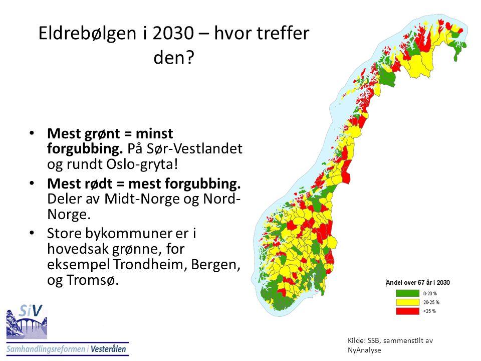 Eldrebølgen i 2030 – hvor treffer den? • Mest grønt = minst forgubbing. På Sør-Vestlandet og rundt Oslo-gryta! • Mest rødt = mest forgubbing. Deler av