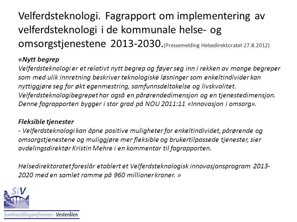 Velferdsteknologi. Fagrapport om implementering av velferdsteknologi i de kommunale helse- og omsorgstjenestene 2013-2030. (Pressemelding Helsedirekto