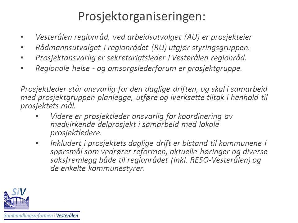Prosjektorganiseringen: • Vesterålen regionråd, ved arbeidsutvalget (AU) er prosjekteier • Rådmannsutvalget i regionrådet (RU) utgjør styringsgruppen.