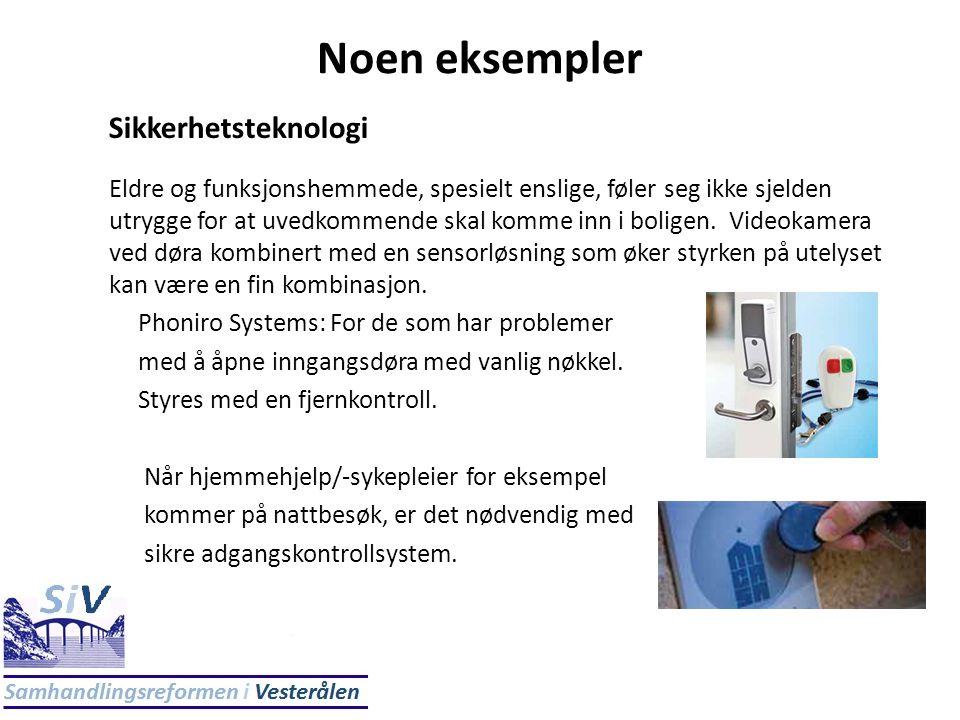 Noen eksempler Sikkerhetsteknologi Eldre og funksjonshemmede, spesielt enslige, føler seg ikke sjelden utrygge for at uvedkommende skal komme inn i bo