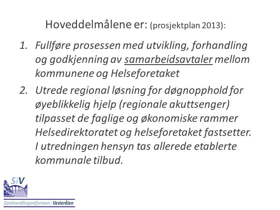 Hoveddelmålene er: (prosjektplan 2013): 1.Fullføre prosessen med utvikling, forhandling og godkjenning av samarbeidsavtaler mellom kommunene og Helsef