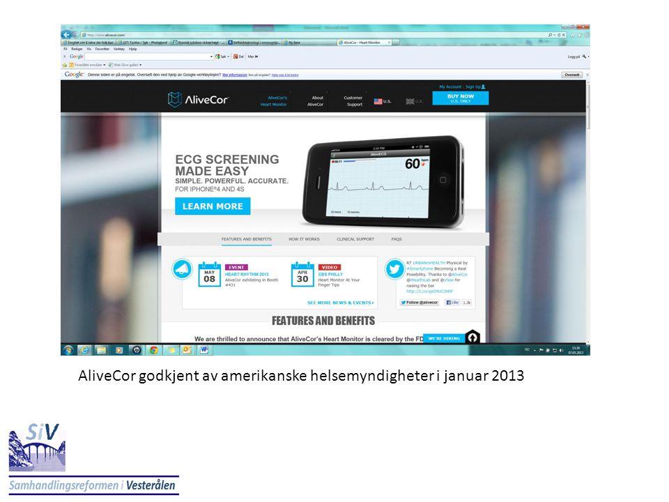 AliveCor godkjent av amerikanske helsemyndigheter i januar 2013