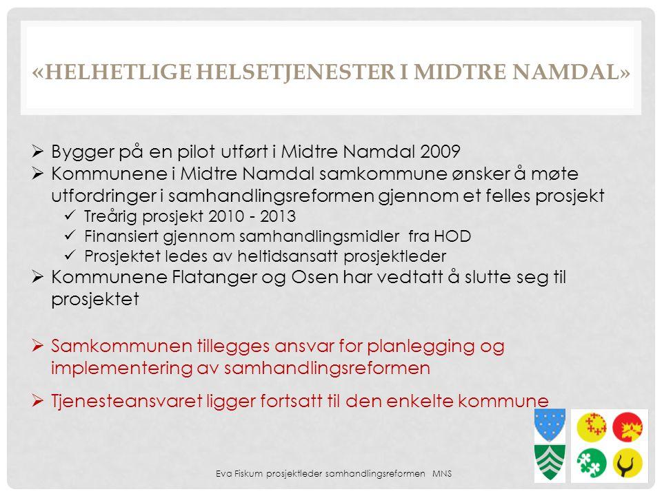 Eva Fiskum prosjektleder samhandlingsreformen MNS 12  Bygger på en pilot utført i Midtre Namdal 2009  Kommunene i Midtre Namdal samkommune ønsker å