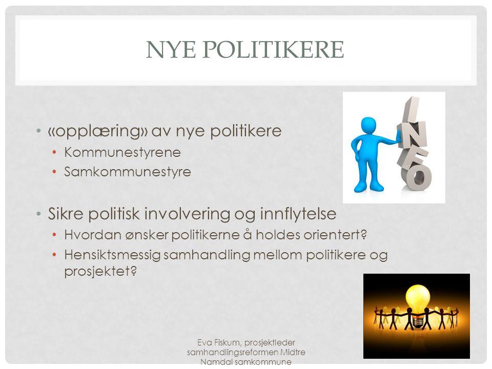 NYE POLITIKERE • «opplæring» av nye politikere • Kommunestyrene • Samkommunestyre • Sikre politisk involvering og innflytelse • Hvordan ønsker politik