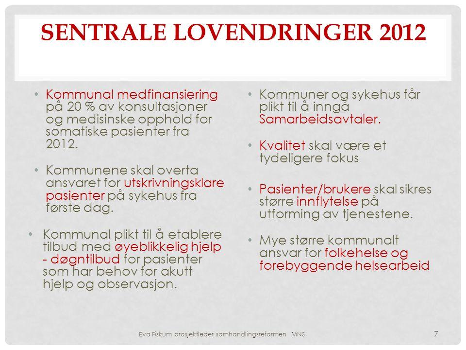 SENTRALE LOVENDRINGER 2012 • Kommunal medfinansiering på 20 % av konsultasjoner og medisinske opphold for somatiske pasienter fra 2012. • Kommunene sk
