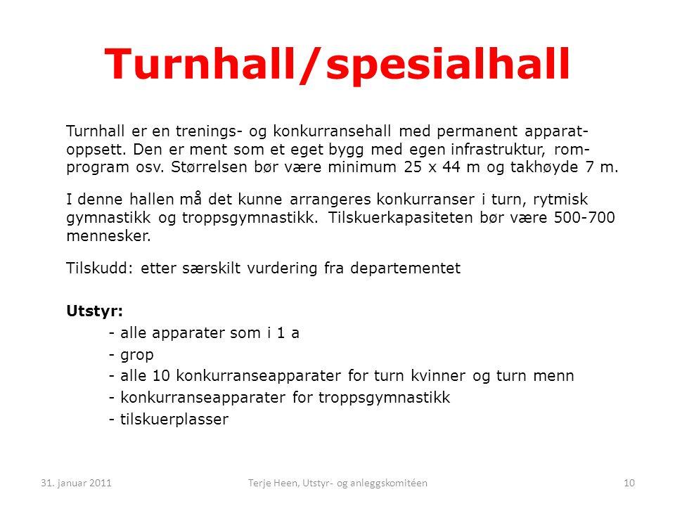 Turnhall er en trenings- og konkurransehall med permanent apparat- oppsett.