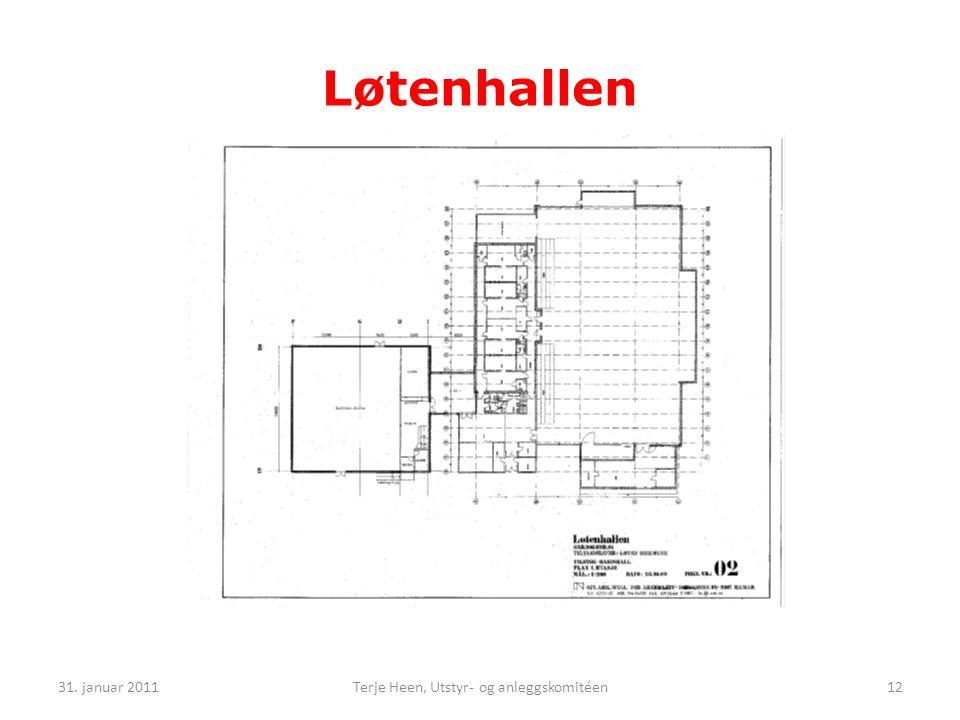 31. januar 2011Terje Heen, Utstyr- og anleggskomitéen12 Løtenhallen