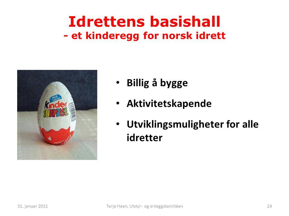 Idrettens basishall - et kinderegg for norsk idrett • Billig å bygge • Aktivitetskapende • Utviklingsmuligheter for alle idretter 31.