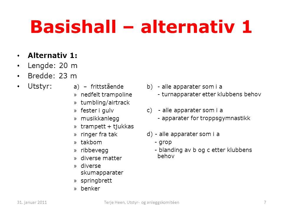 • Alternativ 1: • Lengde: 20 m • Bredde: 23 m • Utstyr: a) – frittstående » nedfelt trampoline » tumbling/airtrack » fester i gulv » musikkanlegg » trampett + tjukkas » ringer fra tak » takbom » ribbevegg » diverse matter » diverse skumapparater » springbrett » benker b) - alle apparater som i a - turnapparater etter klubbens behov c) - alle apparater som i a - apparater for troppsgymnastikk d) - alle apparater som i a - grop - blanding av b og c etter klubbens behov 31.