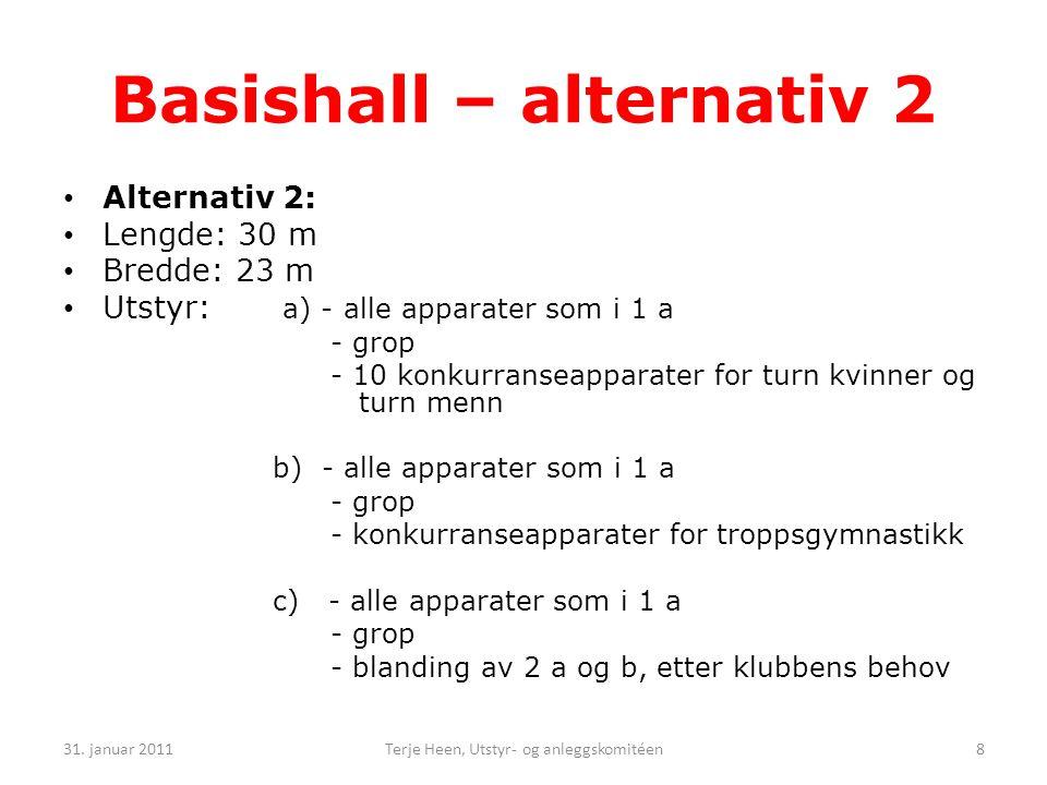 Basishall – alternativ 2 • Alternativ 2: • Lengde: 30 m • Bredde: 23 m • Utstyr: a) - alle apparater som i 1 a - grop - 10 konkurranseapparater for turn kvinner og turn menn b) - alle apparater som i 1 a - grop - konkurranseapparater for troppsgymnastikk c) - alle apparater som i 1 a - grop - blanding av 2 a og b, etter klubbens behov 31.
