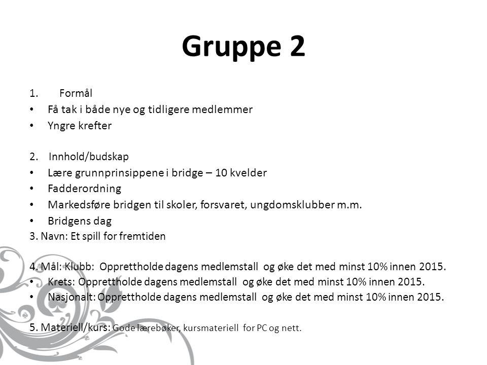 Gruppe 2 1.Formål • Få tak i både nye og tidligere medlemmer • Yngre krefter 2.
