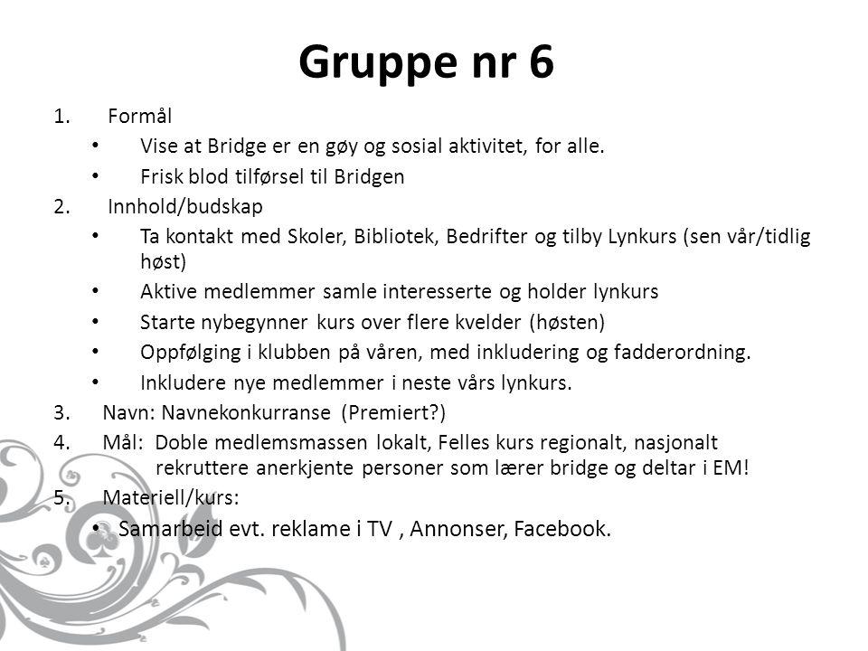 13.04.13 Gruppe 7 1.For å øke interessen for bridge.
