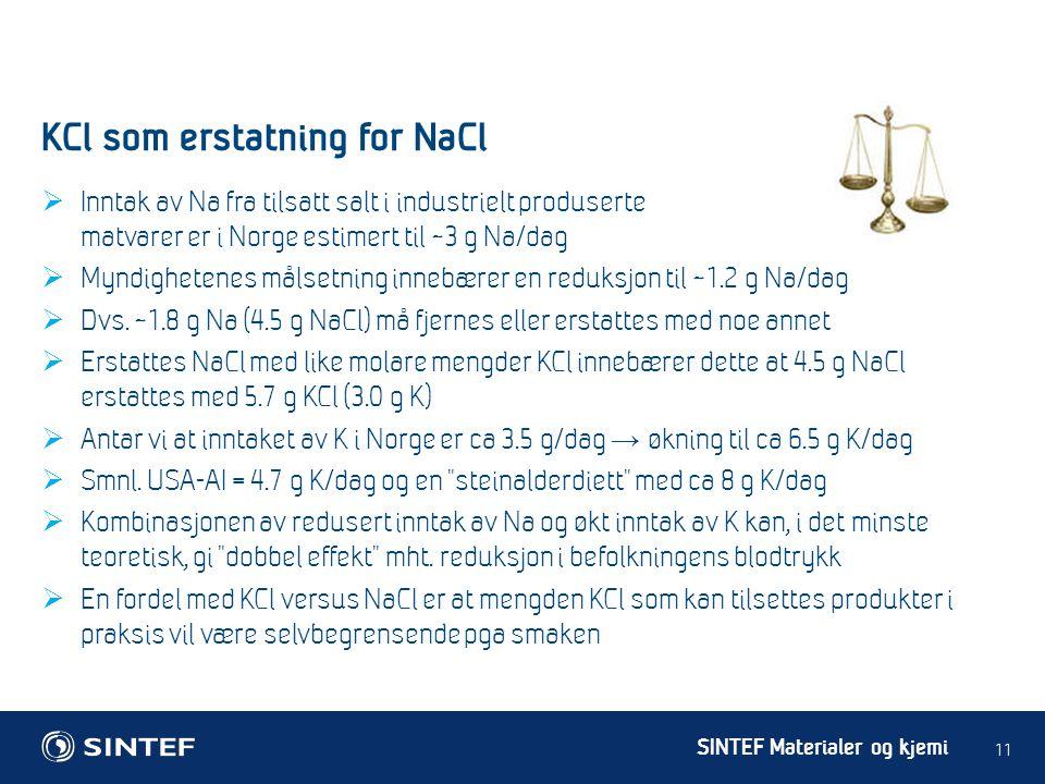 SINTEF Materialer og kjemi  Inntak av Na fra tilsatt salt i industrielt produserte matvarer er i Norge estimert til ~3 g Na/dag  Myndighetenes målse