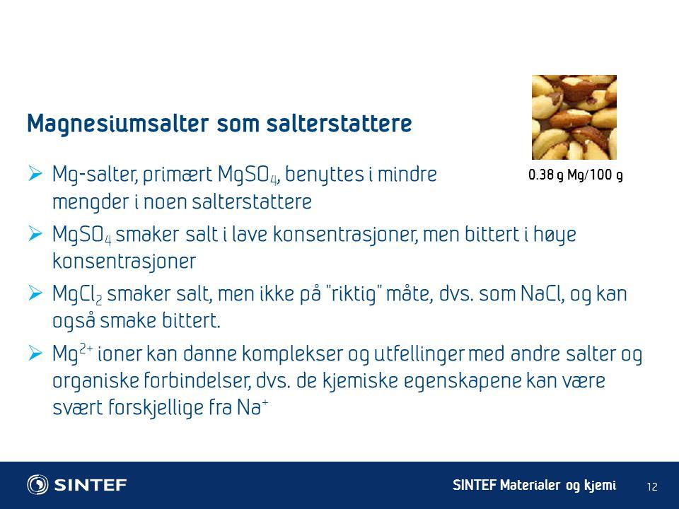 SINTEF Materialer og kjemi  Mg-salter, primært MgSO 4, benyttes i mindre mengder i noen salterstattere  MgSO 4 smaker salt i lave konsentrasjoner, m