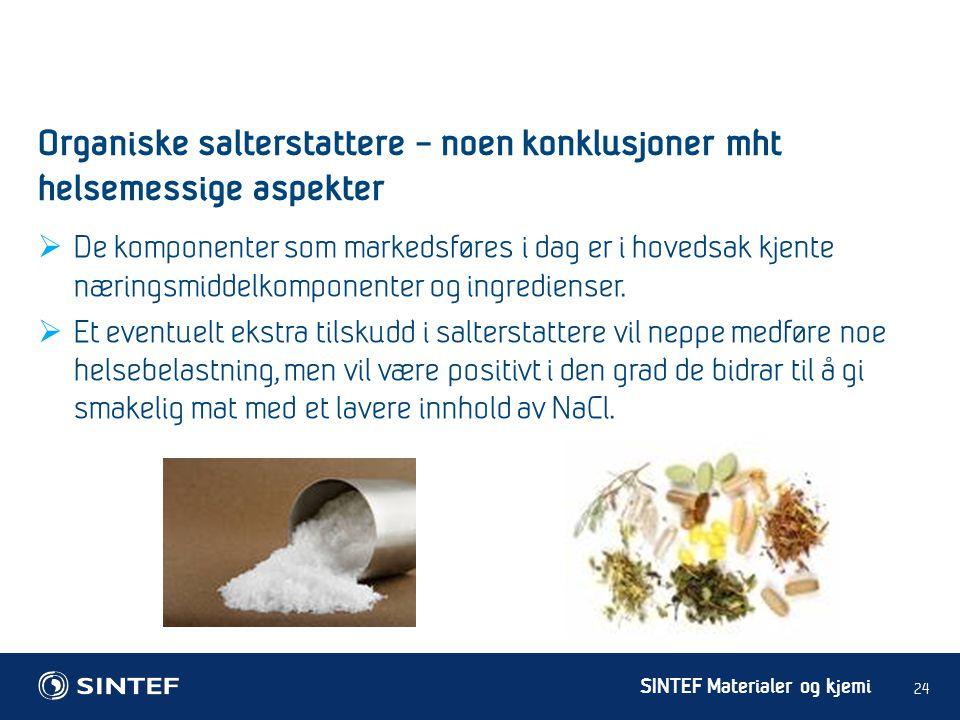 SINTEF Materialer og kjemi  De komponenter som markedsføres i dag er i hovedsak kjente næringsmiddelkomponenter og ingredienser.  Et eventuelt ekstr