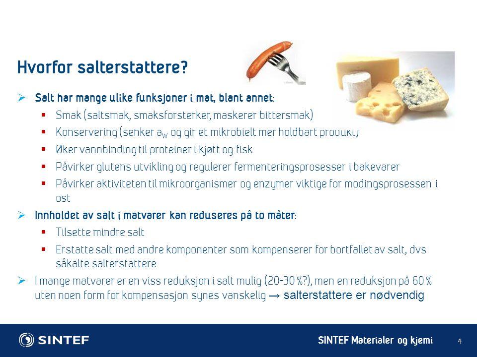 SINTEF Materialer og kjemi  Salt har mange ulike funksjoner i mat, blant annet :  Smak (saltsmak, smaksforsterker, maskerer bittersmak)  Konserveri