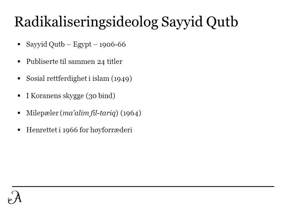 Radikaliseringsideolog Sayyid Qutb  Sayyid Qutb – Egypt – 1906-66  Publiserte til sammen 24 titler  Sosial rettferdighet i islam (1949)  I Koranen
