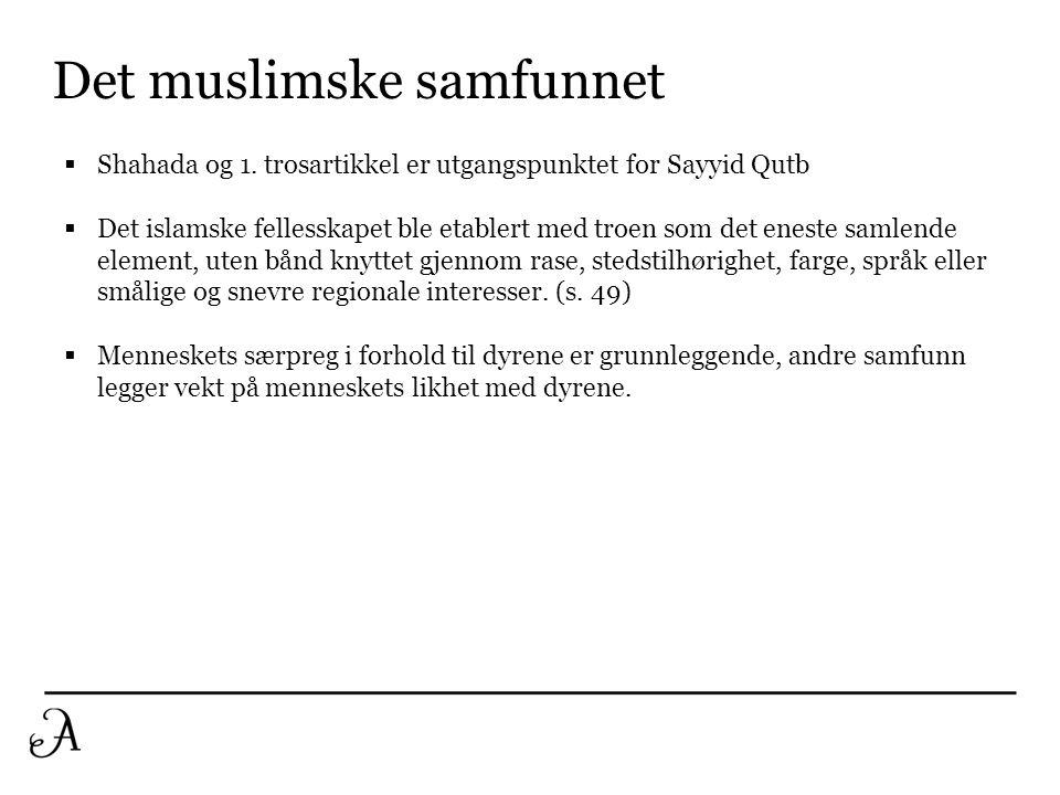 Det muslimske samfunnet  Shahada og 1. trosartikkel er utgangspunktet for Sayyid Qutb  Det islamske fellesskapet ble etablert med troen som det enes