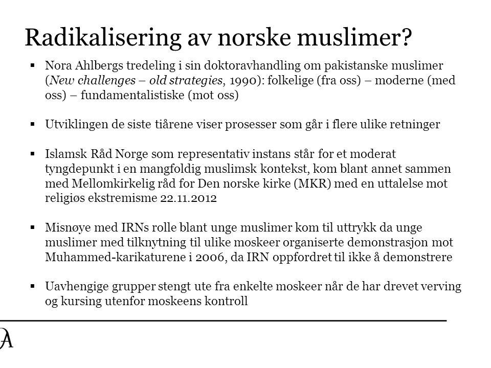 Radikalisering av norske muslimer?  Nora Ahlbergs tredeling i sin doktoravhandling om pakistanske muslimer (New challenges – old strategies, 1990): f