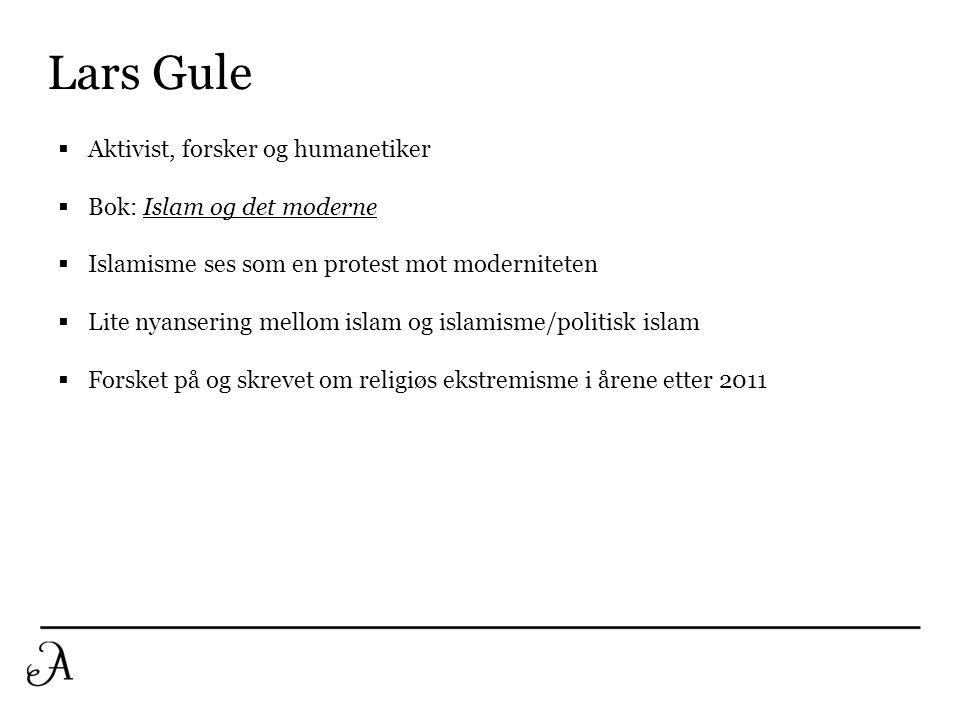 Lars Gule  Aktivist, forsker og humanetiker  Bok: Islam og det moderne  Islamisme ses som en protest mot moderniteten  Lite nyansering mellom isla