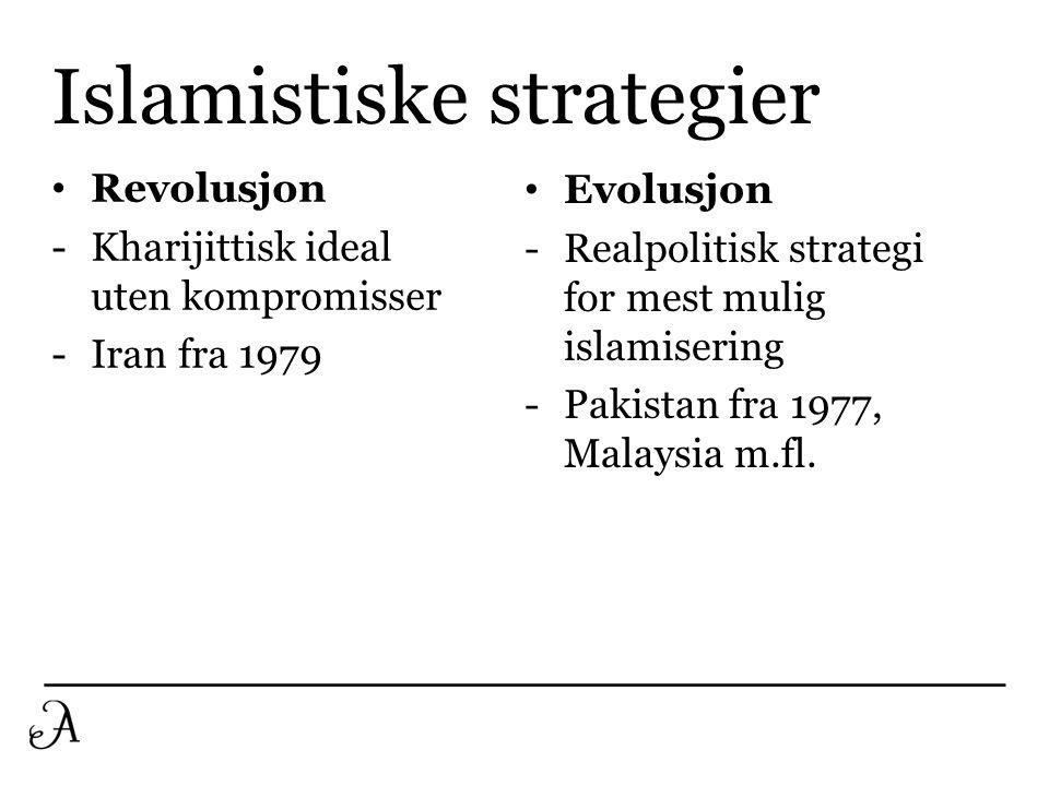 Islamistiske strategier • Revolusjon -Kharijittisk ideal uten kompromisser -Iran fra 1979 • Evolusjon -Realpolitisk strategi for mest mulig islamiseri