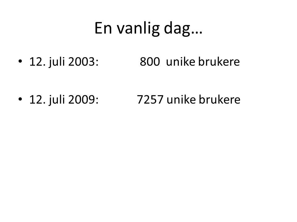 En vanlig dag… • 12. juli 2003: 800 unike brukere • 12. juli 2009:7257 unike brukere