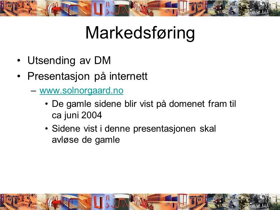 Markedsføring •Utsending av DM •Presentasjon på internett –www.solnorgaard.nowww.solnorgaard.no •De gamle sidene blir vist på domenet fram til ca juni